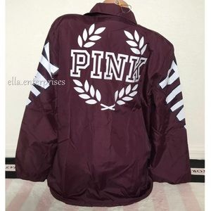 VS Pink Orchid White Sherpa Lined Coach Jacket